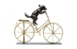 DOG WITH BICYCLE Statua decorativa H.Cm.35,5