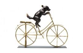 DOG WITH BICYCLE Statua decorativa H.Cm.35,5